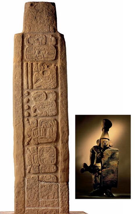 На тыльной стороне стелы из города Тонина (слева) указано число: 18 января 909 года. Это последняя обнаруженная дата «длинного счета» майя — календаря, исчислявшего века. Текущий цикл «длинного счета», скорее всего, начался в 3114 году до нашей эры, а закончится скоро, в 2012 году. Это обещание вызывает ажиотаж и сегодня. В руке у глиняной статуи воина из Канкуэна (внизу) — своеобразный топор, которым «каратели» убивали знать.