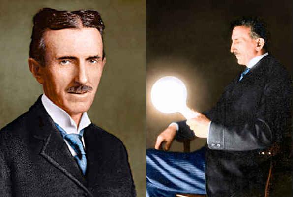 Слева: Никола Тесла, 1920 год. В возрасте 64 летСправа: Лампочка светится в руках Тесла без каких-либо проводов.
